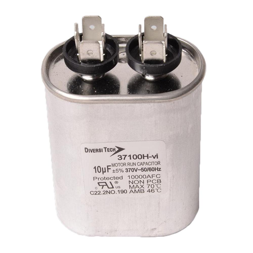 Motor run capacitor, 370V, oval, 10µF