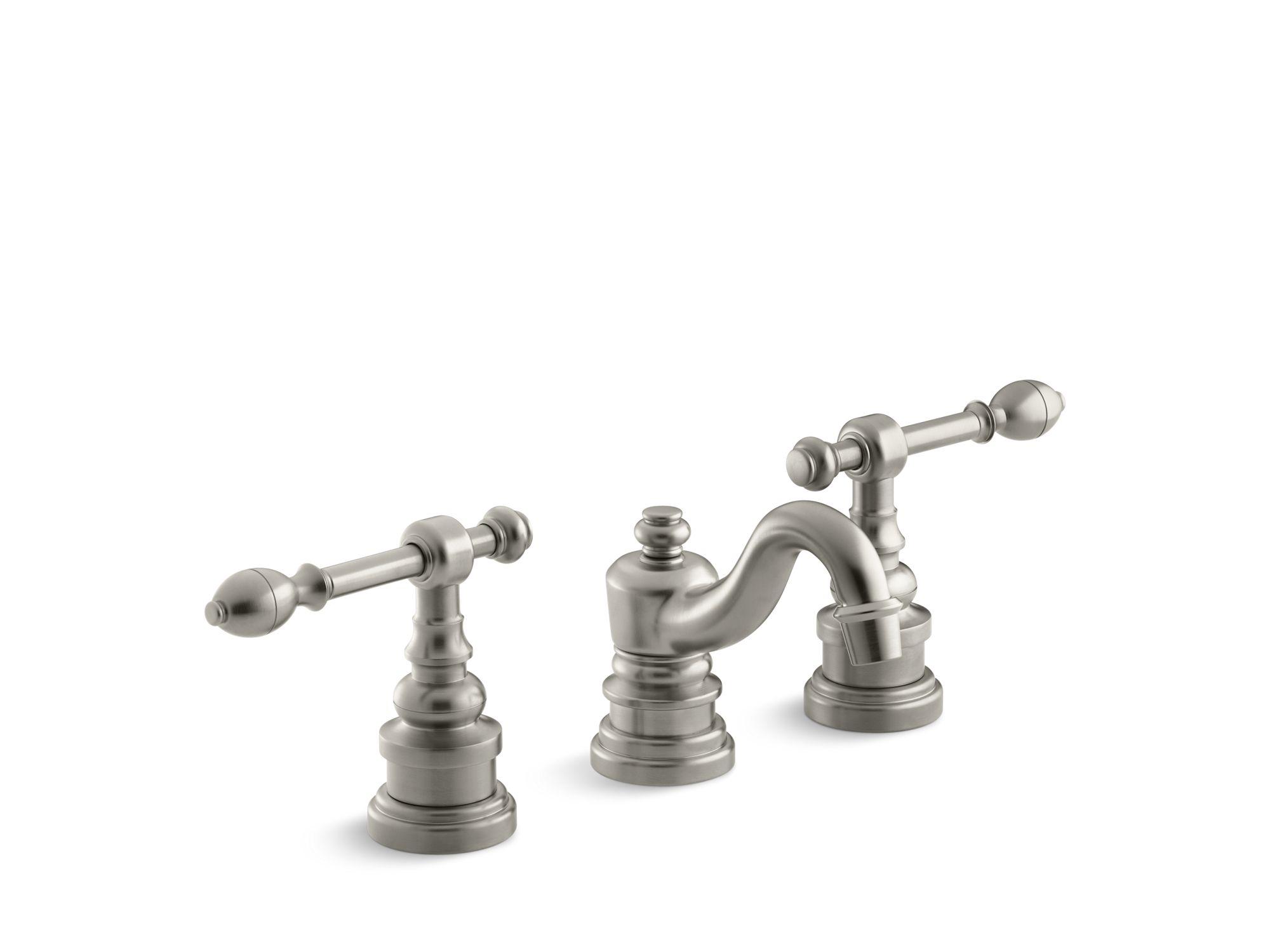 Kohler K-6811-4-BN IV Georges Brass Widespread Bathroom Sink Faucet with Lever Handles Vibrant Brushed Nickel