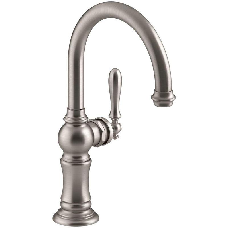 "Kohler Artifacts® K-99264-VS single-hole bar sink faucet with 13-1/16"" swing spout, Arc spout design Vibrant Stainless"