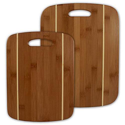 2 Piece Striped Bamboo Cutting Board Set