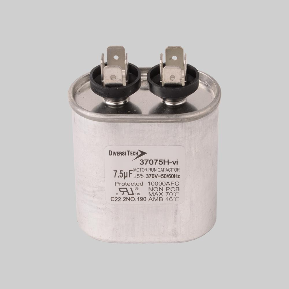 Motor run capacitor, 370V, oval, 7.5µF