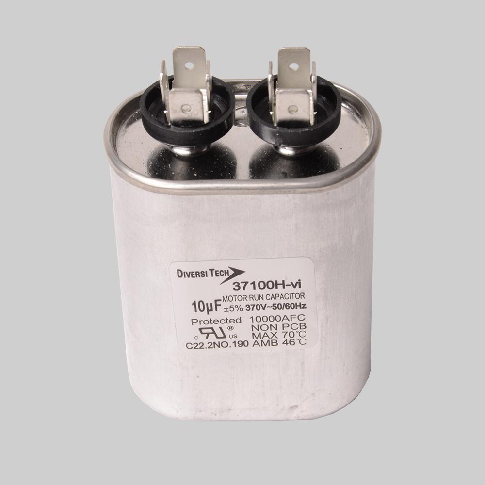 Motor run capacitor, 370V, oval, 10µF