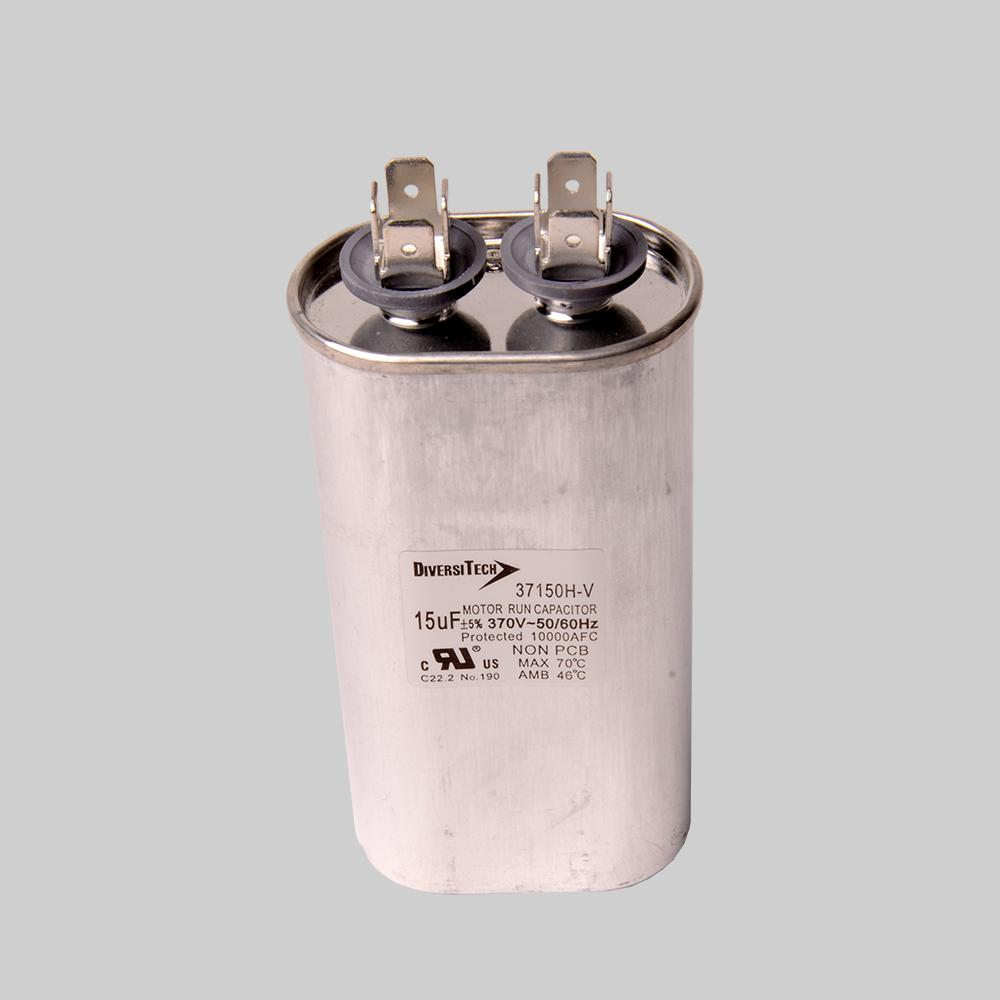 Motor run capacitor, 370V, oval, 15µF