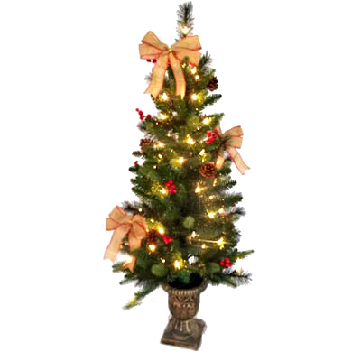 "Shadloo Industrial TV209252 Porch Tree/Bows, 4"", Clear"
