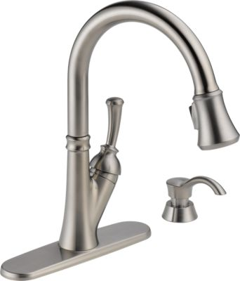 Savile®Single Handle Pull-Down Kitchen Faucet with Soap Dispenser