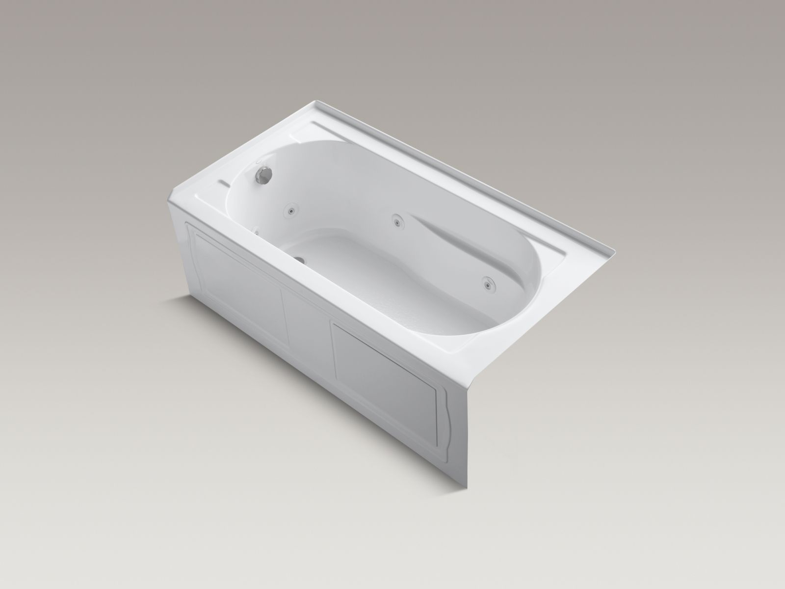 Kohler K-1357-LA-0 Devonshire 5' Whirlpool with Integral Apron and Left-hand Drain White