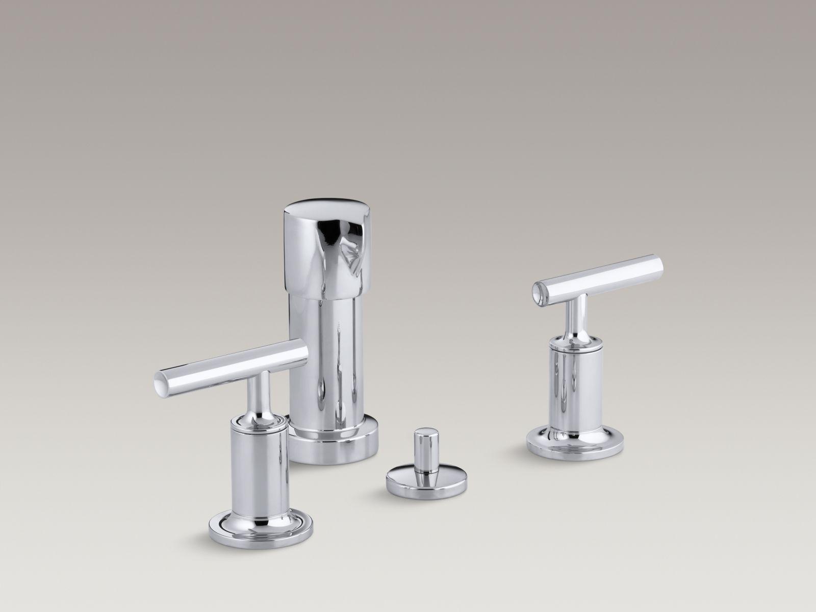 Kohler K-14431-4-CP Purist Vertical Spray Bidet Faucet with Lever Handles Polished Chrome