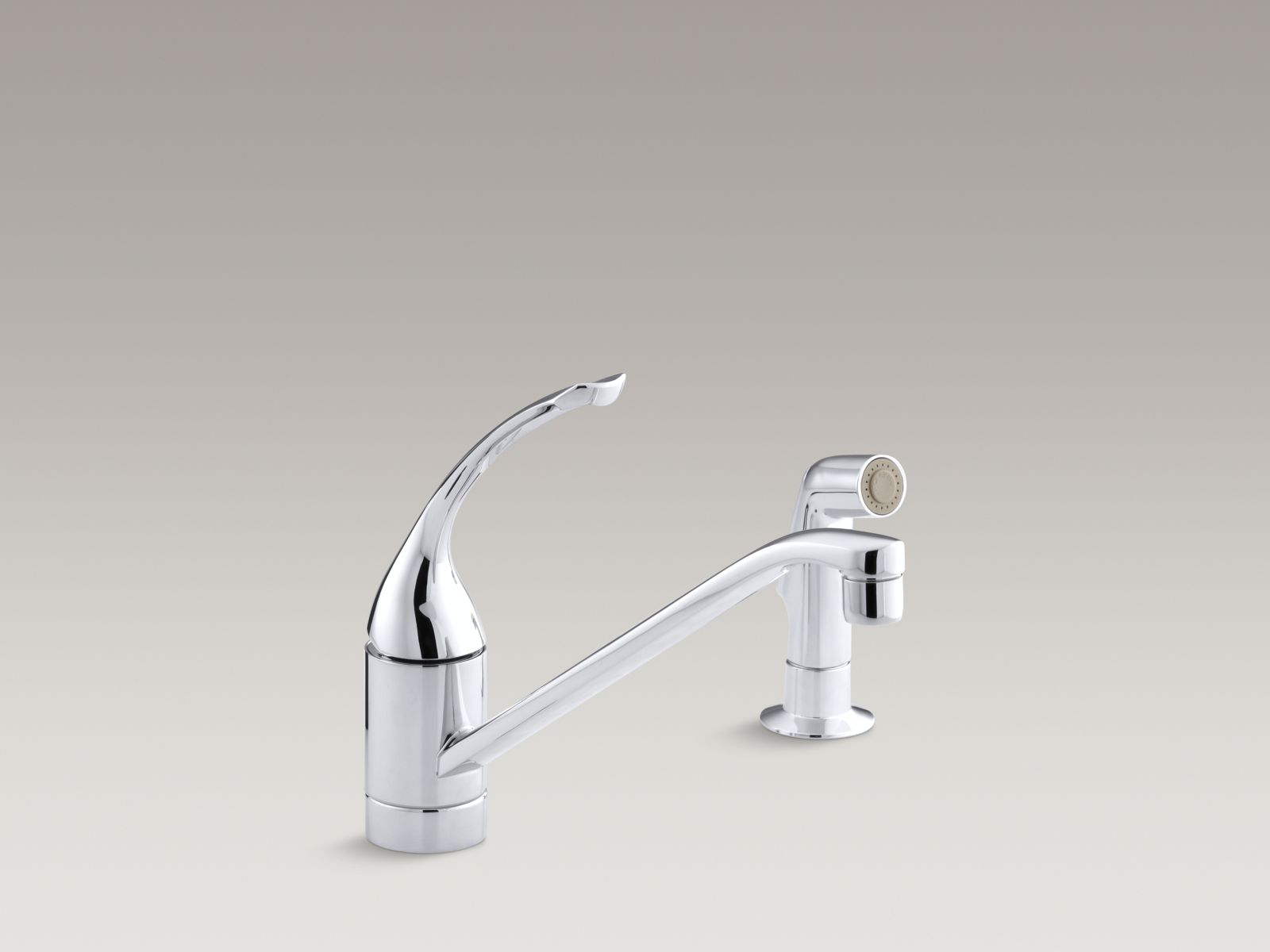 """Kohler K-15176-FL-CP Coralais Single-handle Kitchen Faucet with 10"""" Spout, Sidespray, and Loop Handle Polished Chrome"""