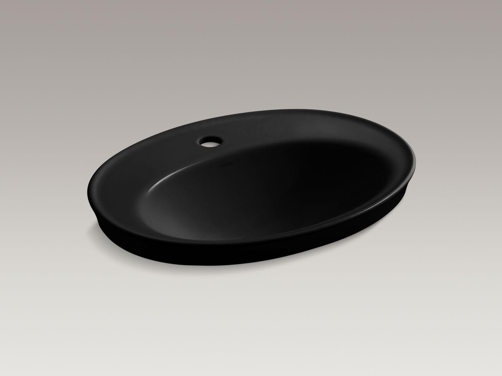 Kohler Serif® K-2075-1-7 Drop-in bathroom sink with single faucet hole Black Black