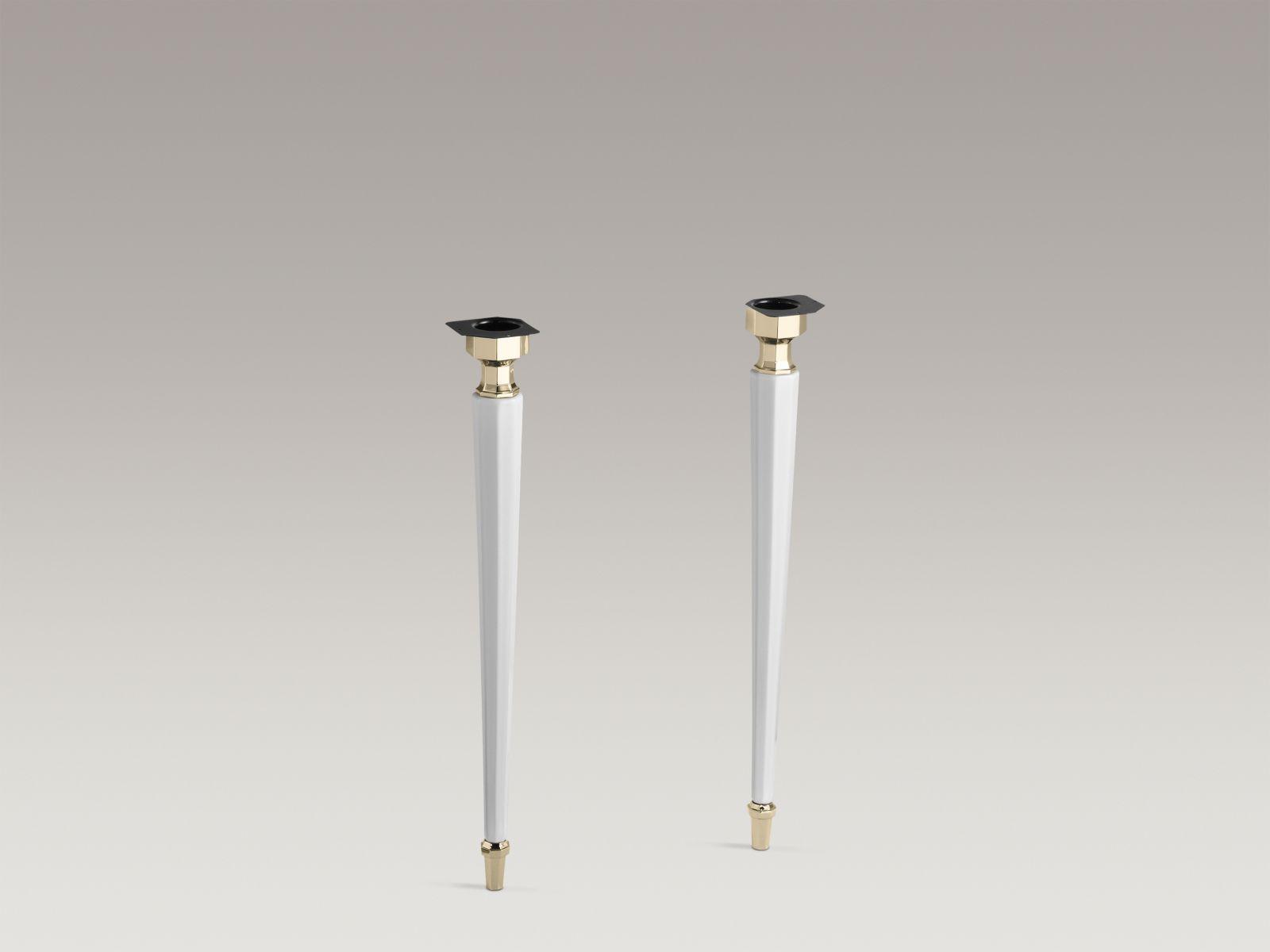Kohler K-2317-AF-0 Kathryn Octagonal Fireclay Legs with Vibrant French Gold Trim White