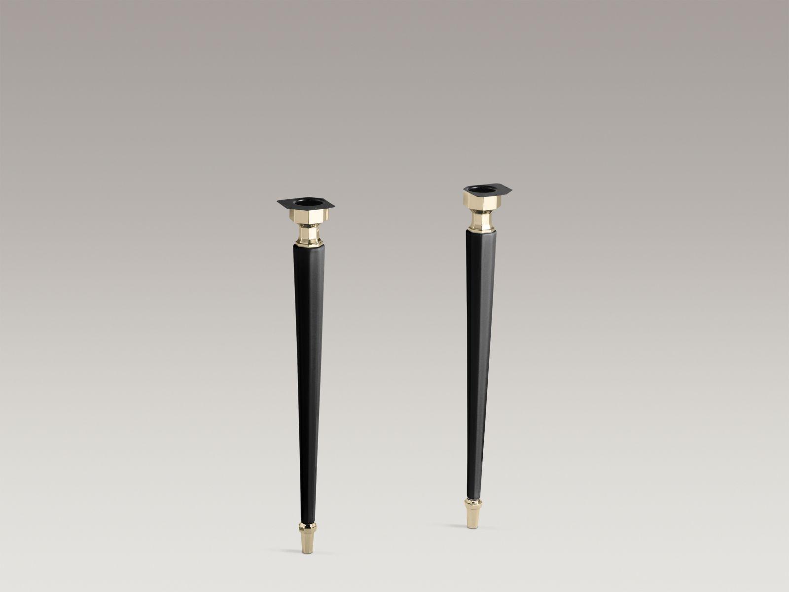 Kohler K-2317-AF-7 Kathryn Octagonal Fireclay Legs with Vibrant French Gold Trim Black Black