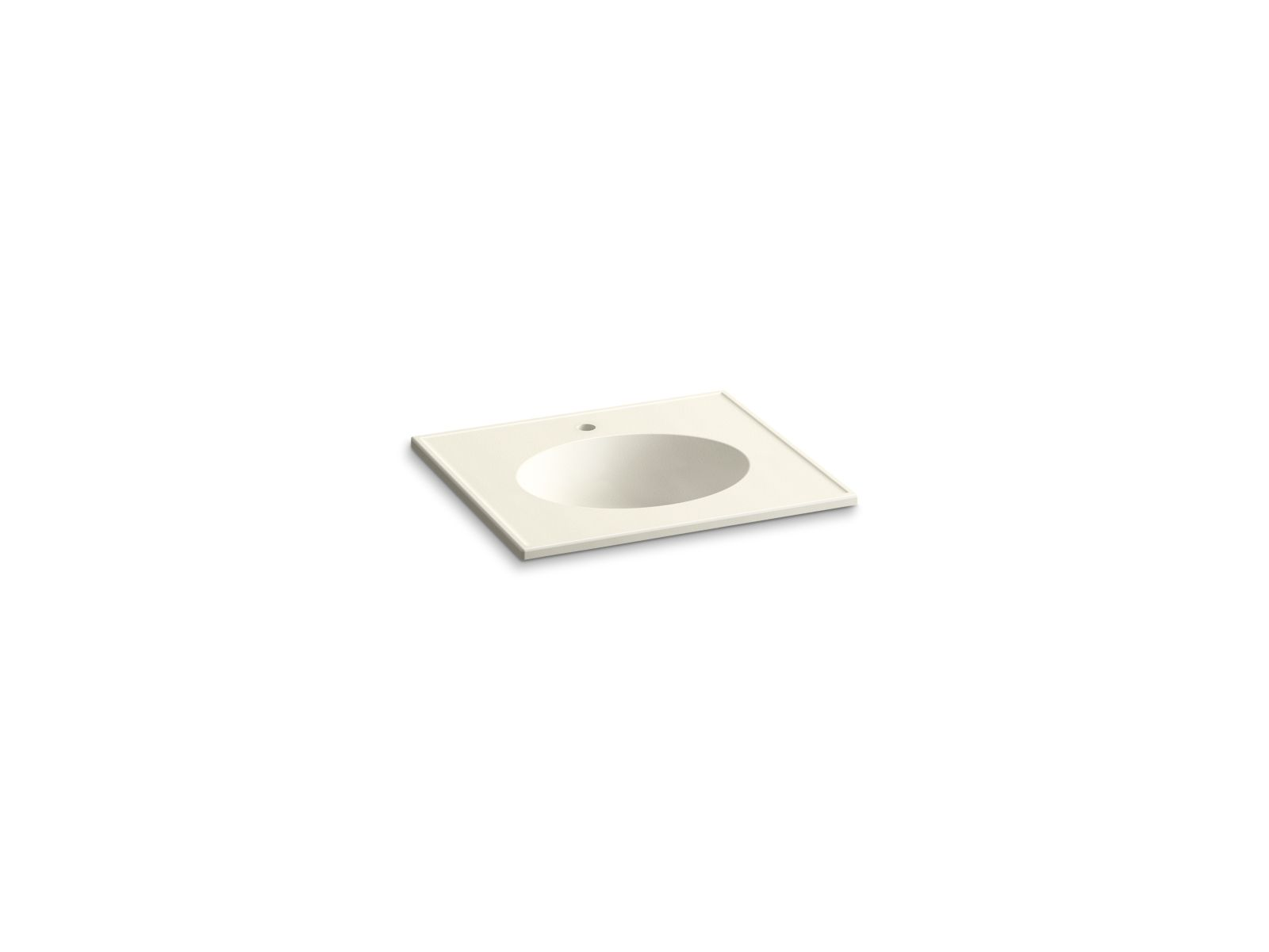 "Kohler Ceramic/Impressions™ K-2791-1-G83 25"" oval vanity-top bathroom sink with single faucet hole Biscuit Impressions"
