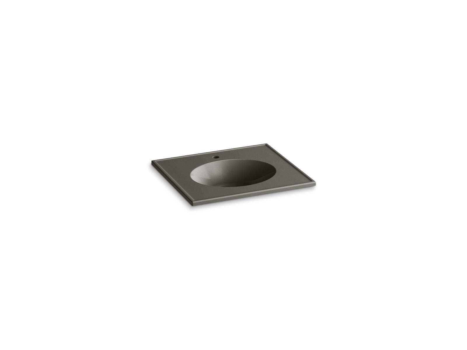 "Kohler Ceramic/Impressions™ K-2791-1-G86 25"" oval vanity-top bathroom sink with single faucet hole Cashmere Impressions"