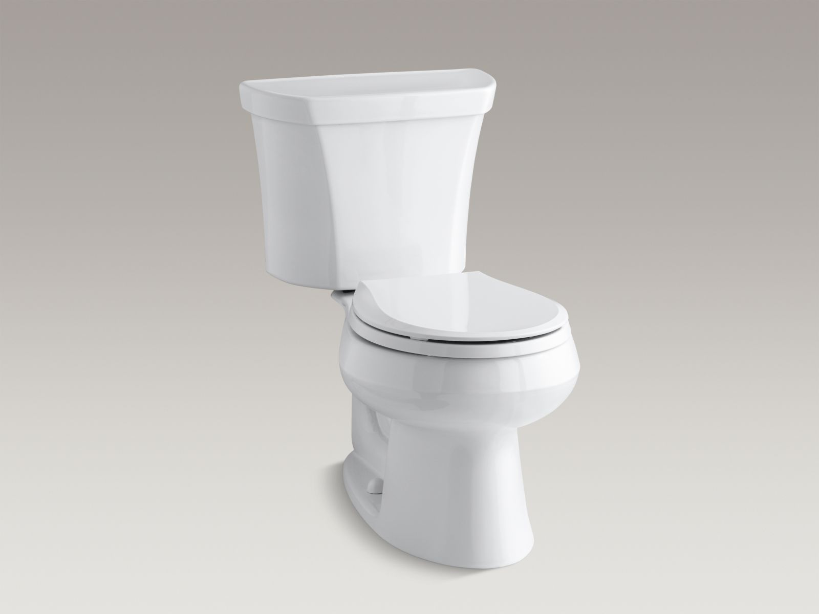 Kohler Wellworth® K-3987-RA-0 Wellworth® two-piece round-front dual-flush toilet with Class Five® flush technology and right-hand trip lever White