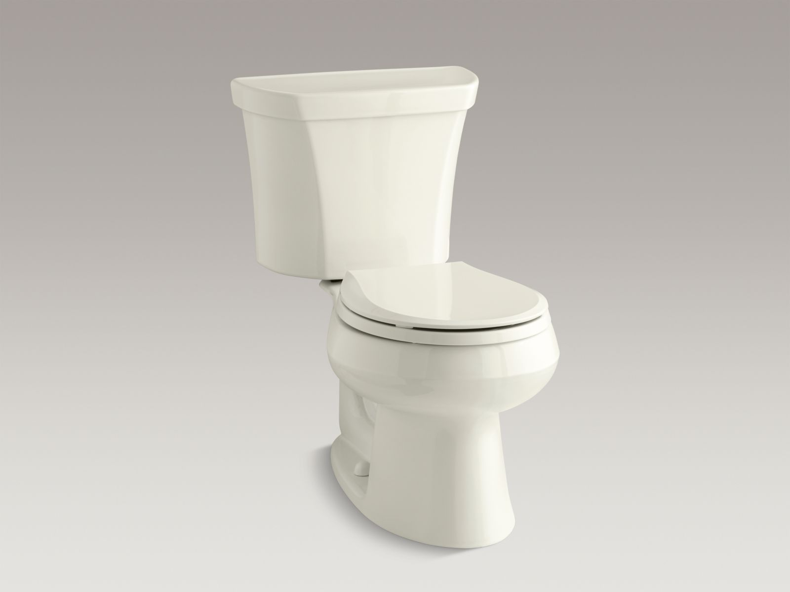 Kohler Wellworth® K-3987-RA-96 Wellworth® two-piece round-front dual-flush toilet with Class Five® flush technology and right-hand trip lever Biscuit
