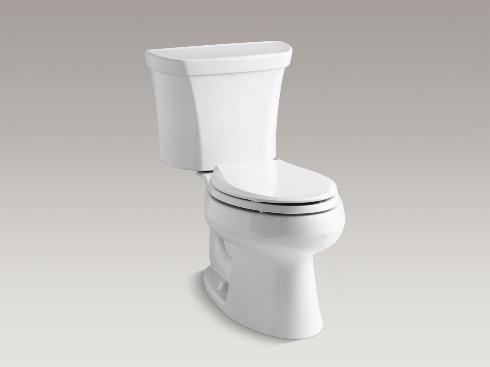 Kohler Wellworth® K-3988-RA-0 two-piece elongated dual-flush toilet with right-hand trip lever White