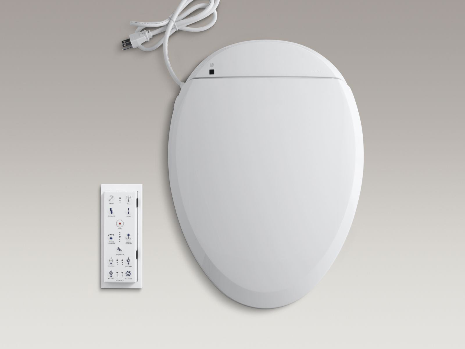 Kohler K-4709-0 C3-200 Elongated Closed-front Toilet Seat with Bidet Functionality, In-line heater, and Remote Control White