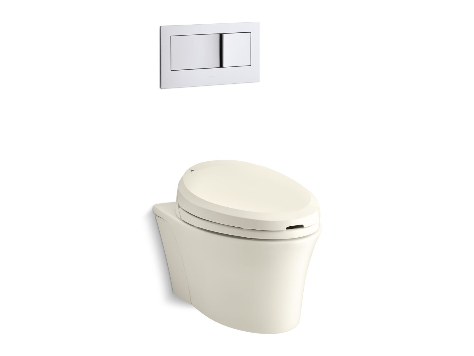 Kohler C3® 201 K-4744-96 elongated bidet toilet seat with in-line heater and remote controls Biscuit