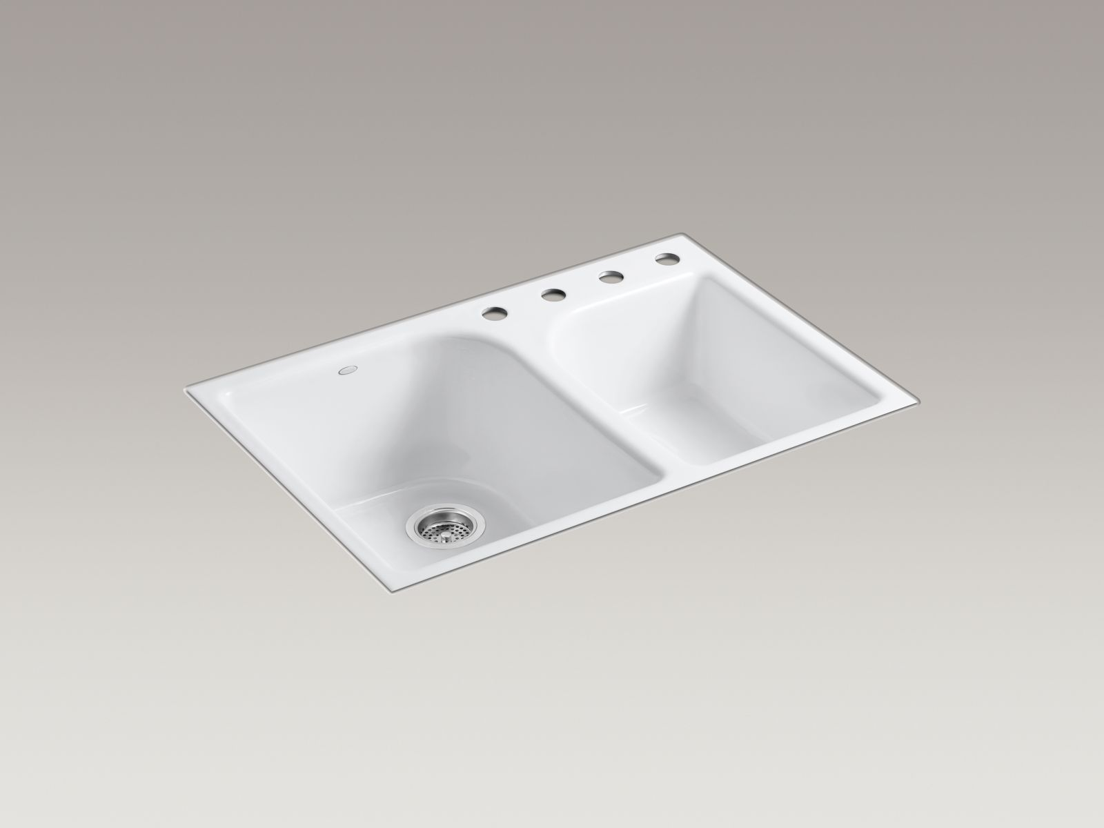 Kohler K-5931-4-0 Executive Chef Flush-mout Deep and Shallow Bowl Kitchen Sink with 4 Faucet Holes White