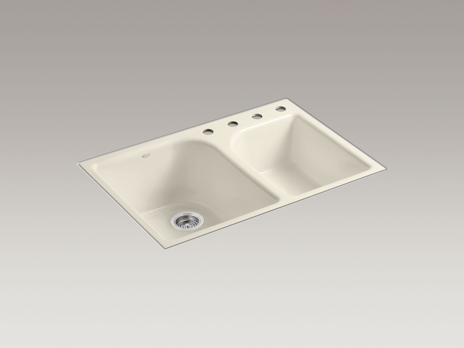 Kohler K-5931-4-47 Executive Chef Flush-mout Deep and Shallow Bowl Kitchen Sink with 4 Faucet Holes Almond