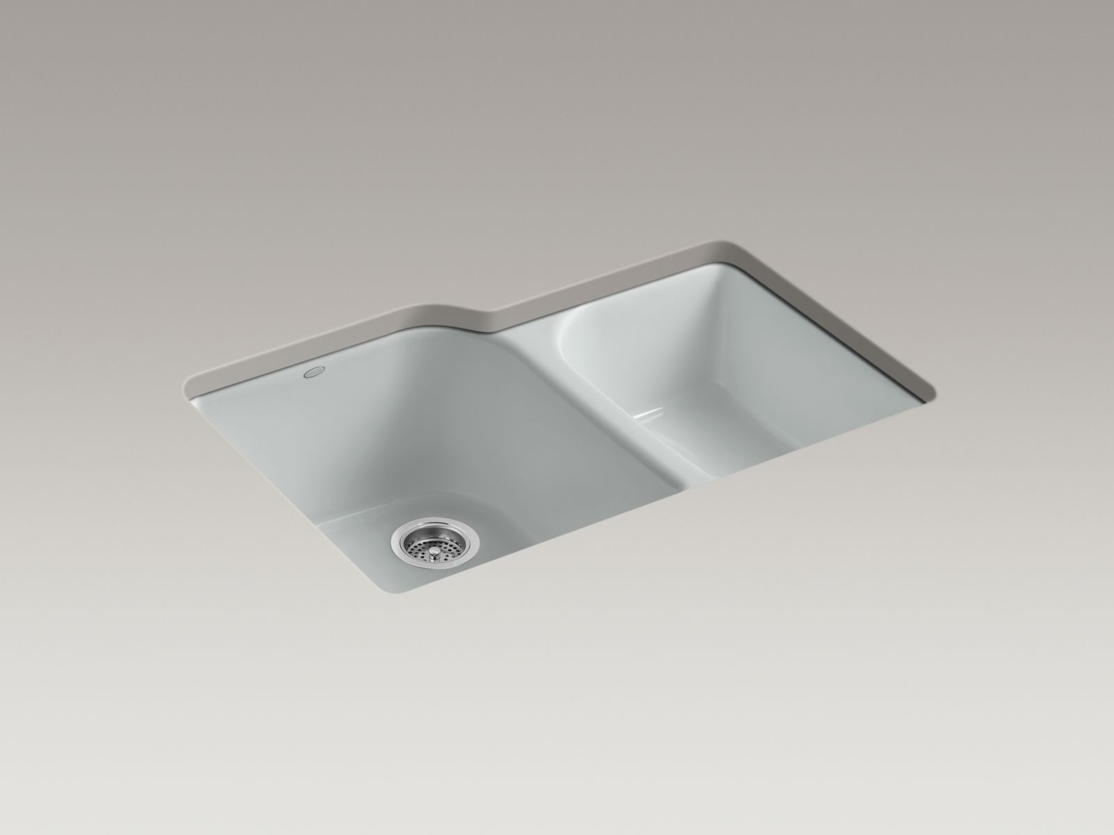 Kohler K-5931-4U-95 Executive Chef Undermount Deep and Shallow Bowl Kitchen Sink with 4 Faucet Holes Ice Grey