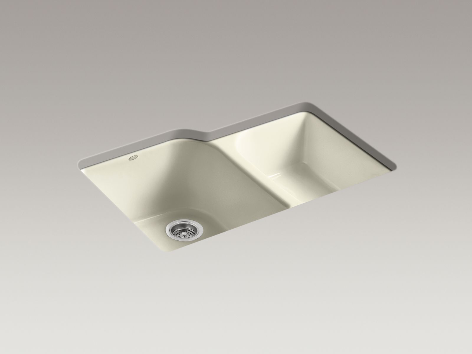 Kohler K-5931-4U-FD Executive Chef Undermount Deep and Shallow Bowl Kitchen Sink with 4 Faucet Holes Cane Sugar