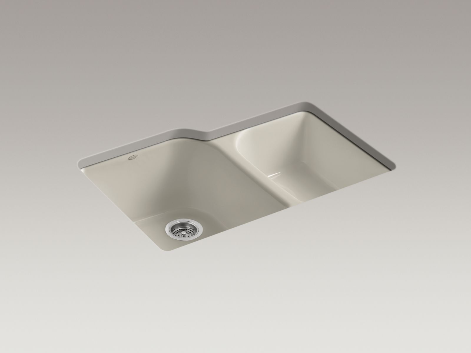 Kohler K-5931-4U-G9 Executive Chef Undermount Deep and Shallow Bowl Kitchen Sink with 4 Faucet Holes Sandbar