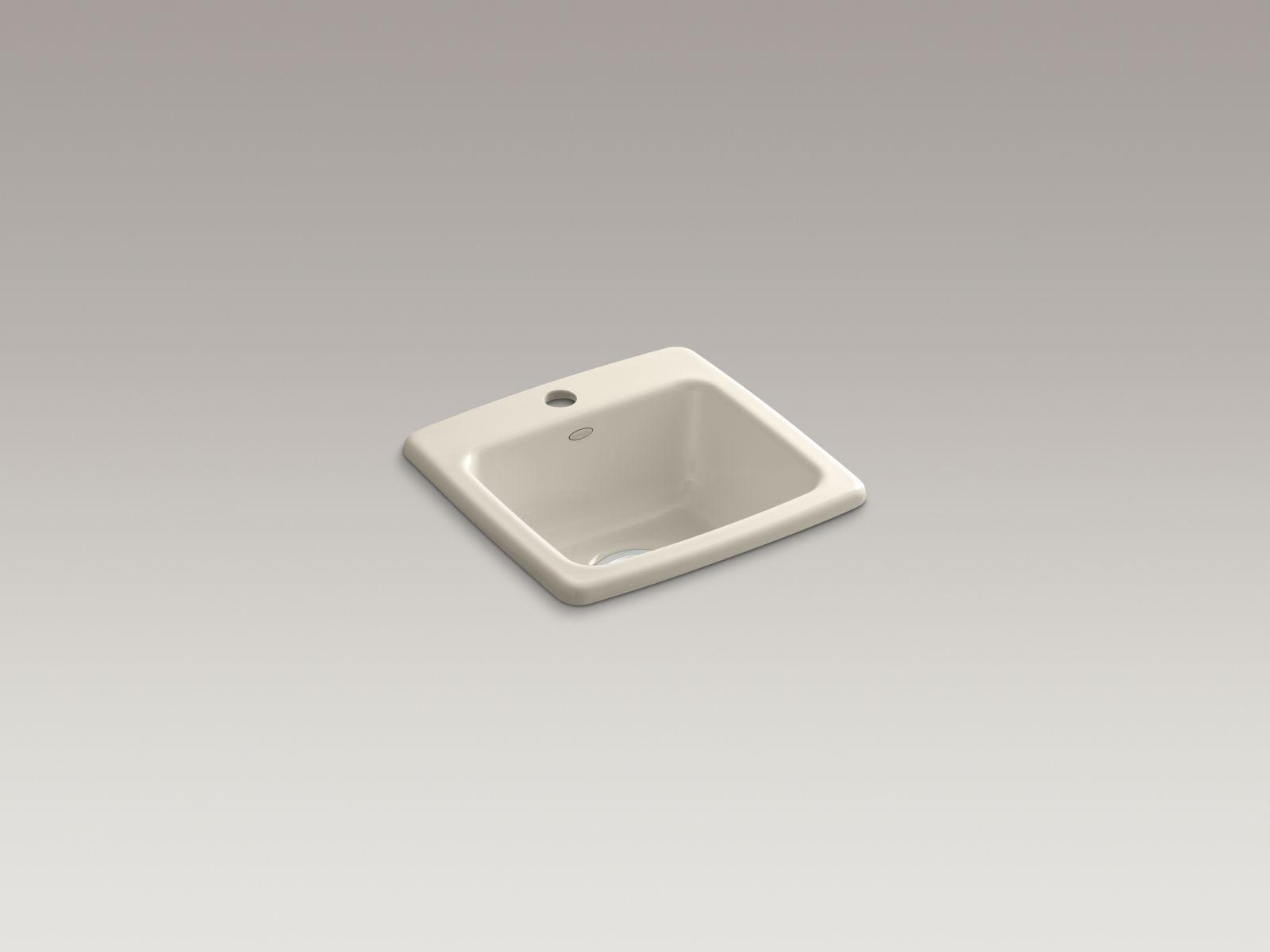 Kohler K-6015-1-47 Gimlet Self-rimming Single-bowl Bar Sink with Single Faucet Hole Almond