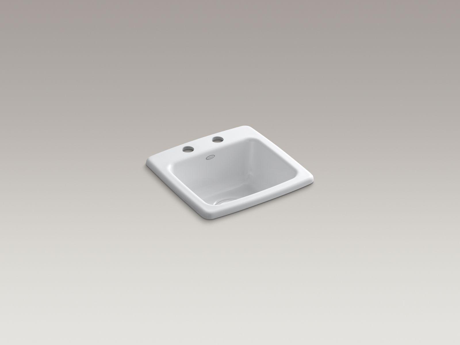 Kohler K-6015-2-0 Gimlet Self-rimming Single-bowl Bar Sink with 2 Faucet Holes White