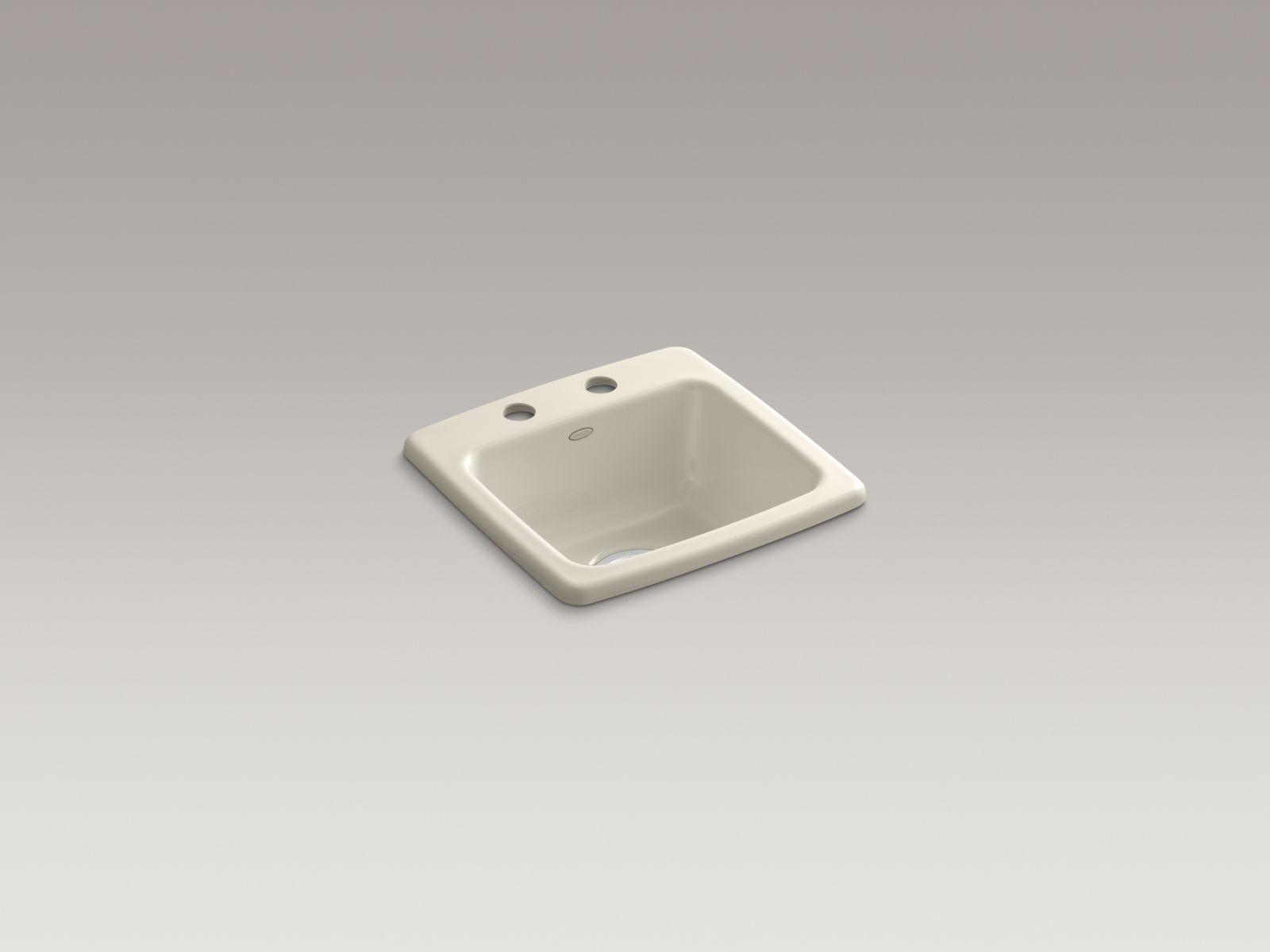 Kohler K-6015-2-47 Gimlet Self-rimming Single-bowl Bar Sink with 2 Faucet Holes Almond