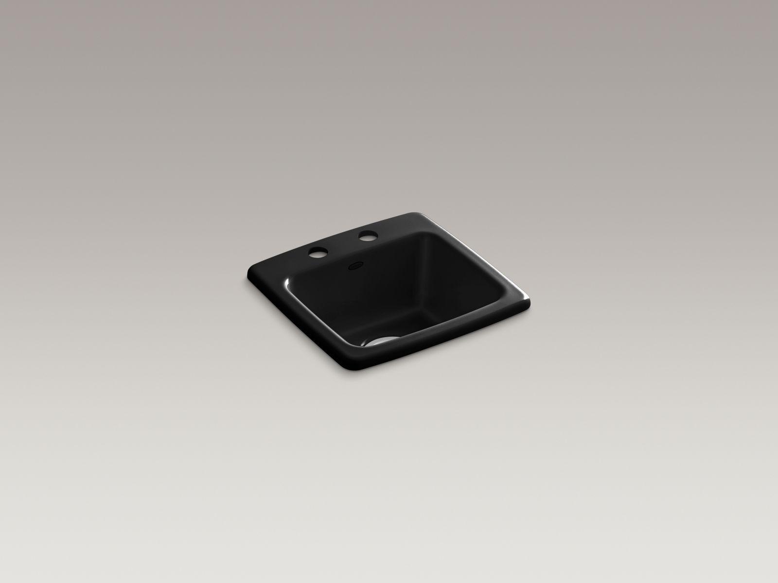 Kohler K-6015-2-7 Gimlet Self-rimming Single-bowl Bar Sink with 2 Faucet Holes Black Black