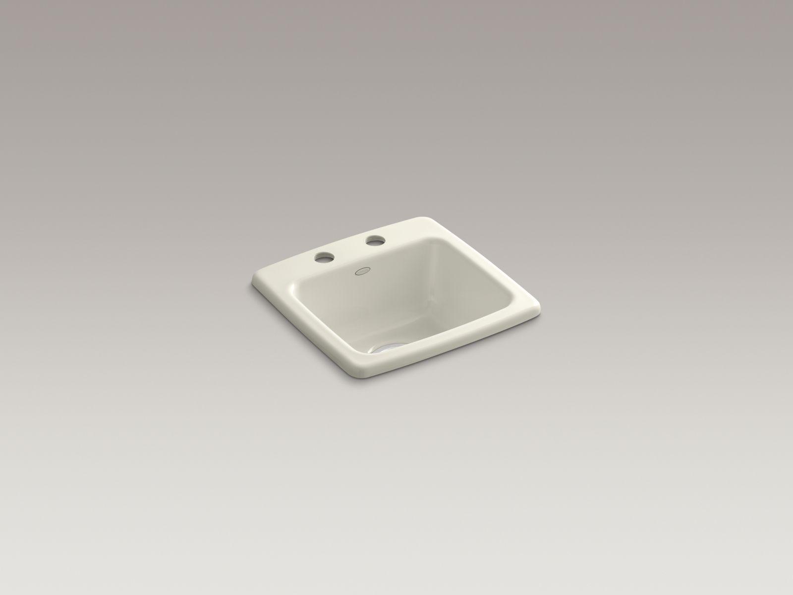 Kohler K-6015-2-96 Gimlet Self-rimming Single-bowl Bar Sink with 2 Faucet Holes Biscuit