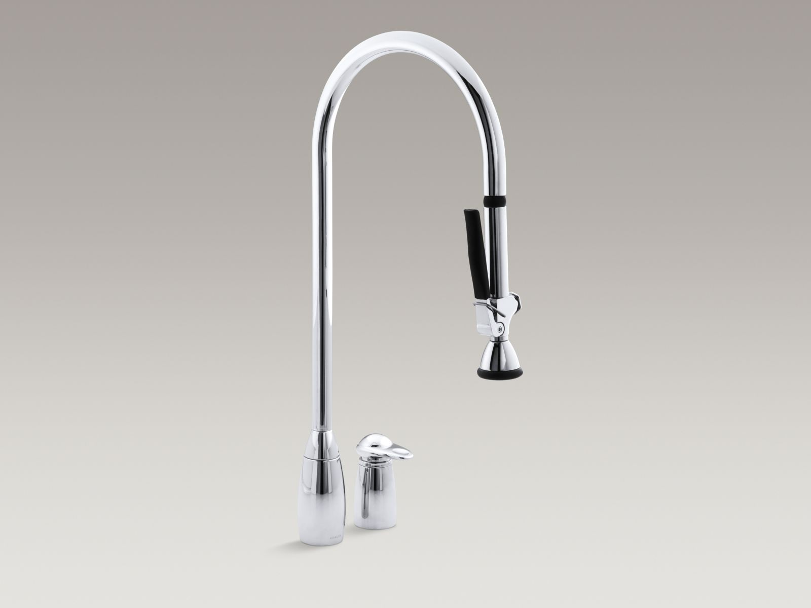 "Kohler K-6330-CP ProMaster Two-hole Kitchen Faucet with Overhead 28"" Spout with Pull-out Spray and Lever Handle Polished Chrome"