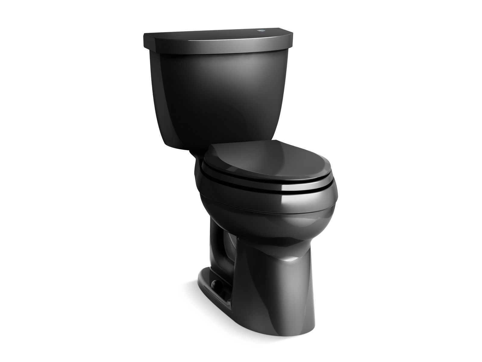 Kohler Cimarron® K-6418-7 Touchless Comfort Height® two-piece elongated 1.28 gpf toilet with AquaPiston® flushing technology Black Black