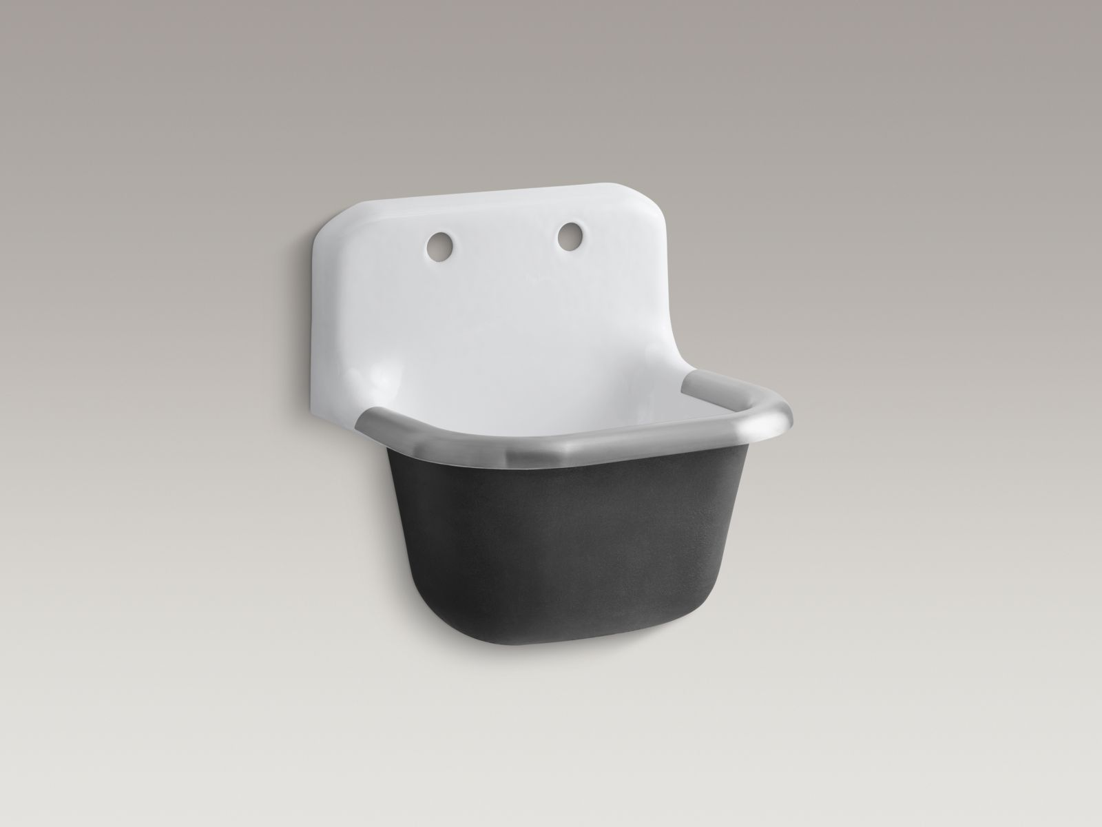 "Kohler K-6714-0 Bannon Wall-mounted 23"" x 19"" Service Sink with Rim Guard and 8"" Widespread Faucet Holes White"