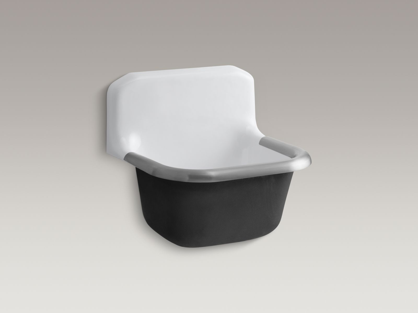 "Kohler K-6719-0 Bannon Wall-mounted 24"" x 21"" Service Sink with Rim Guard and no Faucet Holes White"