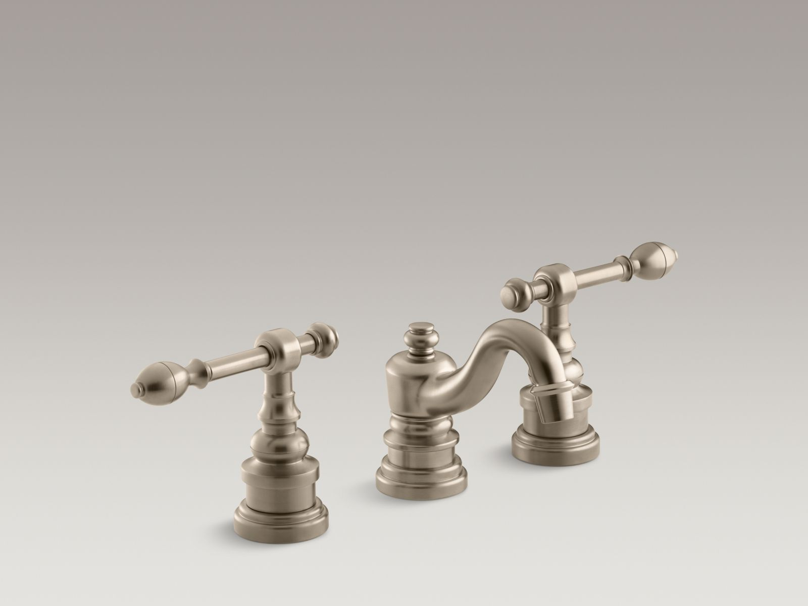 Kohler K-6811-4-BV IV Georges Brass Widespread Bathroom Sink Faucet with Lever Handles Vibrant Brushed Bronze