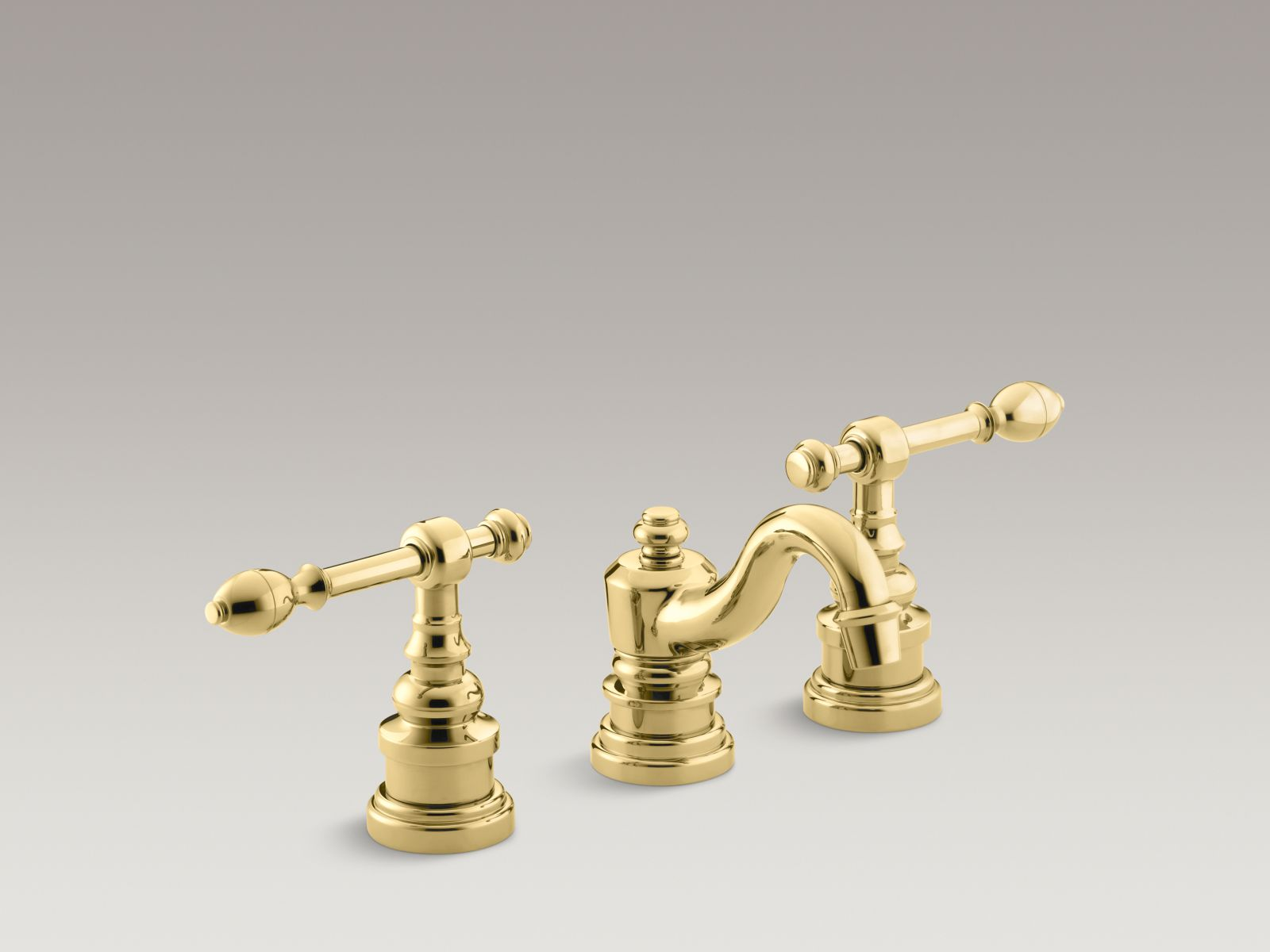 Kohler K-6811-4-PB IV Georges Brass Widespread Bathroom Sink Faucet with Lever Handles Vibrant Polished Brass