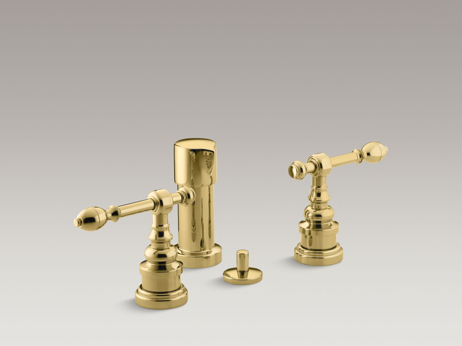 Kohler K-6814-4-PB IV Georges Brass Vertical Spray Bidet Faucet with Lever Handles Vibrant Polished Brass