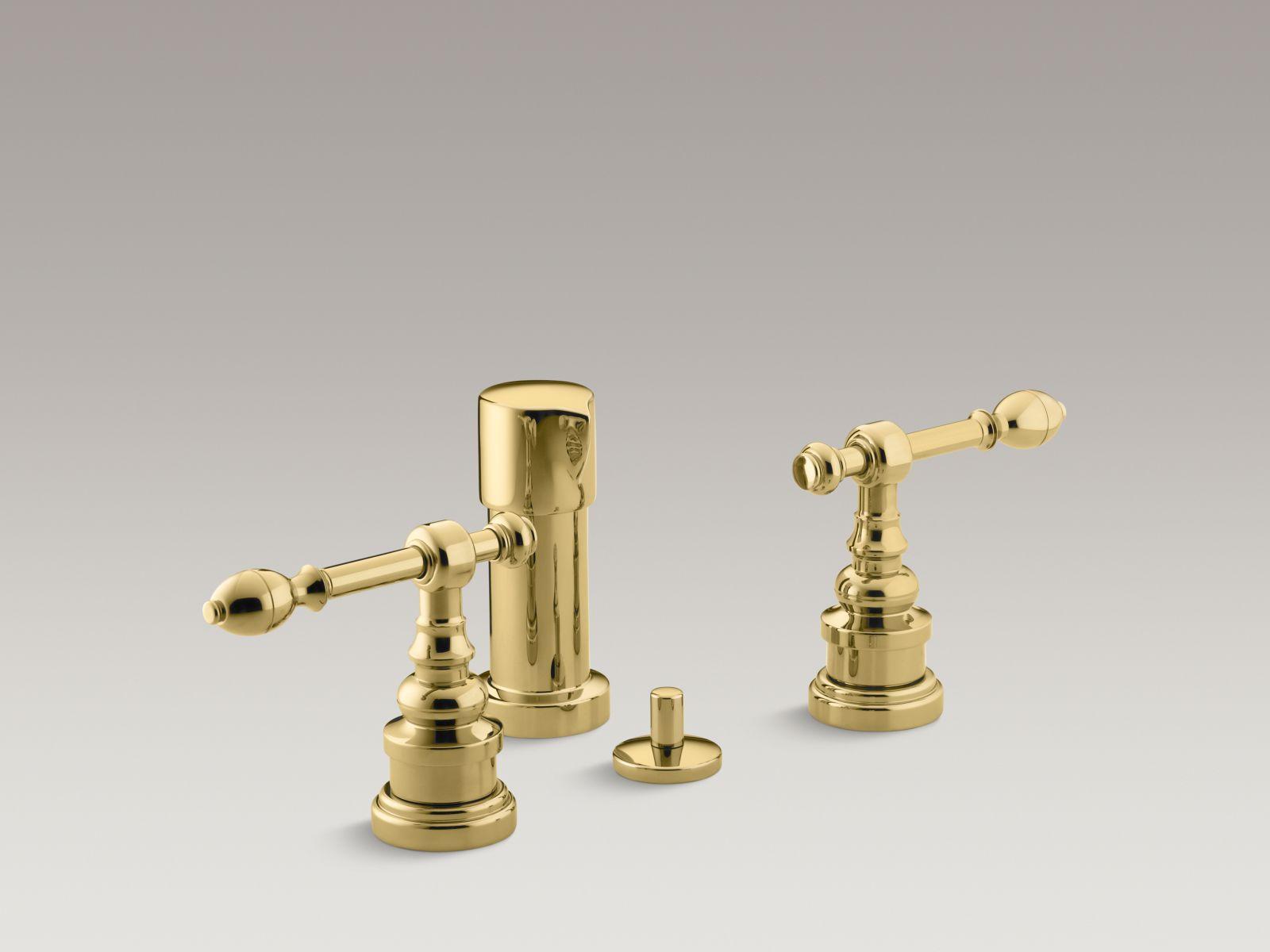 Kohler K-6814-4-PB IV Georges Brass Vertical Spray Bidet Faucet with Lever Handles Vibrant Polished Brass