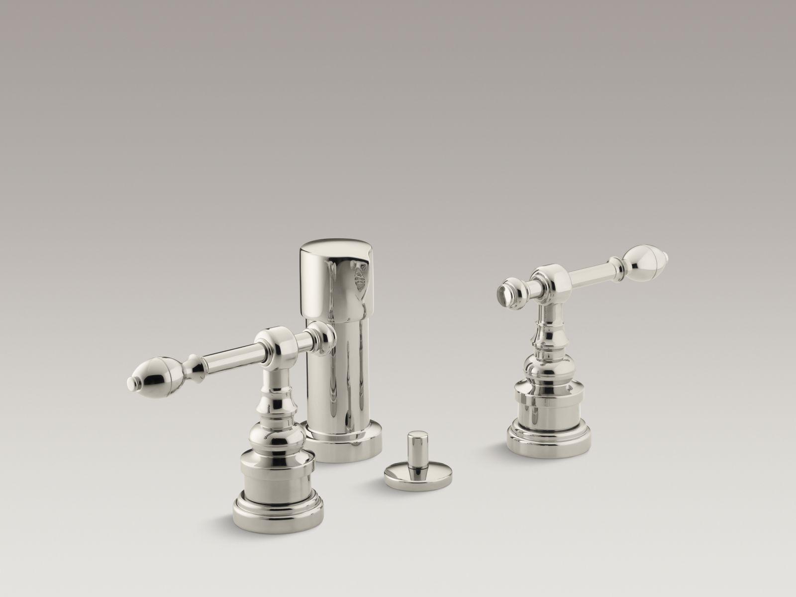 Kohler K-6814-4-SN IV Georges Brass Vertical Spray Bidet Faucet with Lever Handles Vibrant Polished Nickel