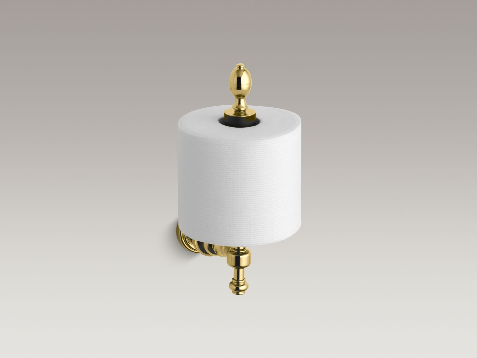 Kohler K-6818-PB IV Georges Brass Vertical Toilet Tissue Holder Vibrant Polished Brass