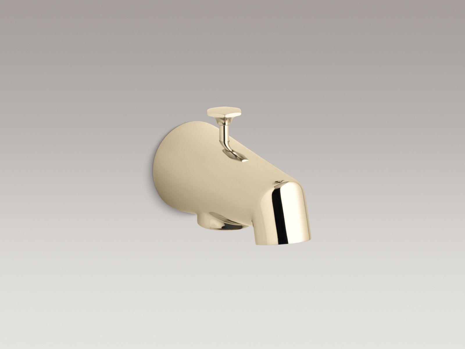 """Kohler K-6855-AF Standard Wall-mounted 5"""" Diverter Bathtub Spout with Disc-shaped Knob French Gold"""