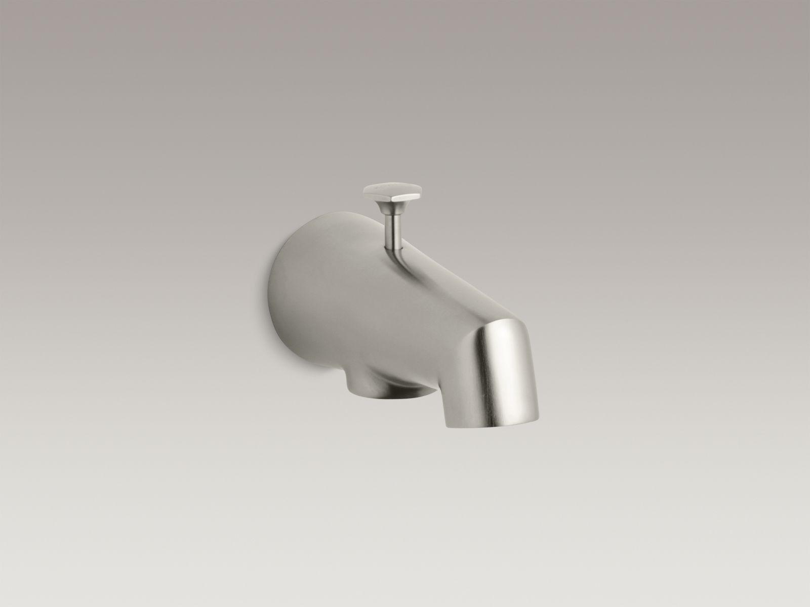"""Kohler K-6855-BN Standard Wall-mounted 5"""" Diverter Bathtub Spout with Disc-shaped Knob Vibrant Brushed Nickel"""