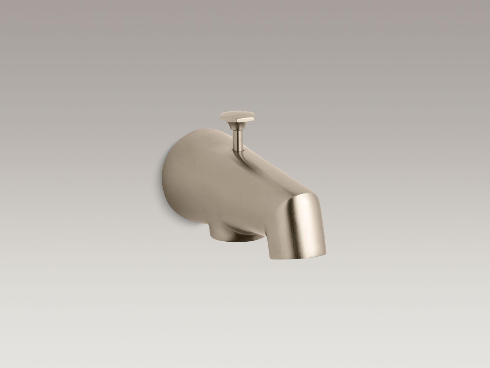 """Kohler K-6855-BV Standard Wall-mounted 5"""" Diverter Bathtub Spout with Disc-shaped Knob Vibrant Brushed Bronze"""