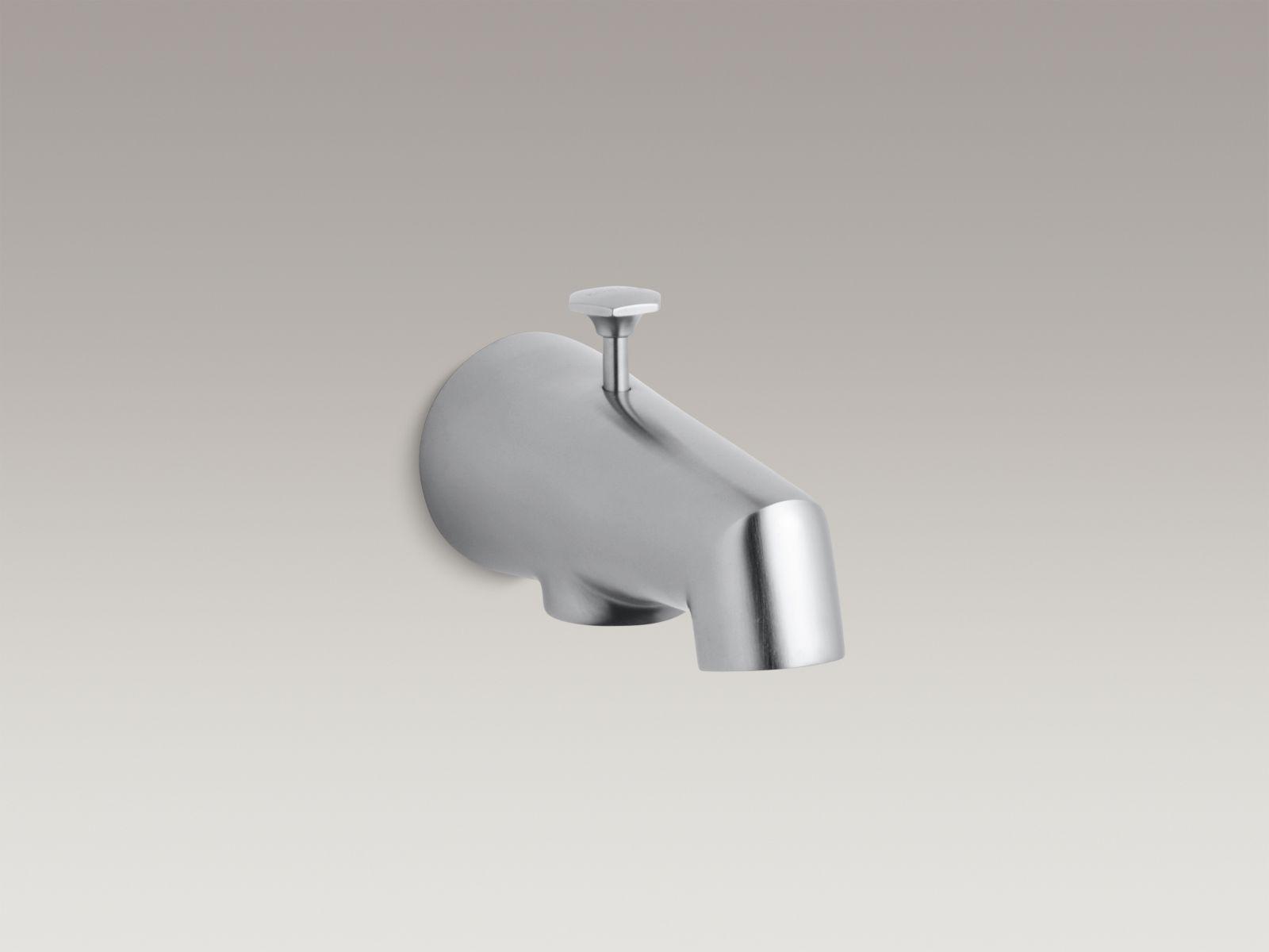 "Kohler K-6855-G Standard Wall-mounted 5"" Diverter Bathtub Spout with Disc-shaped Knob Brushed Chrome"