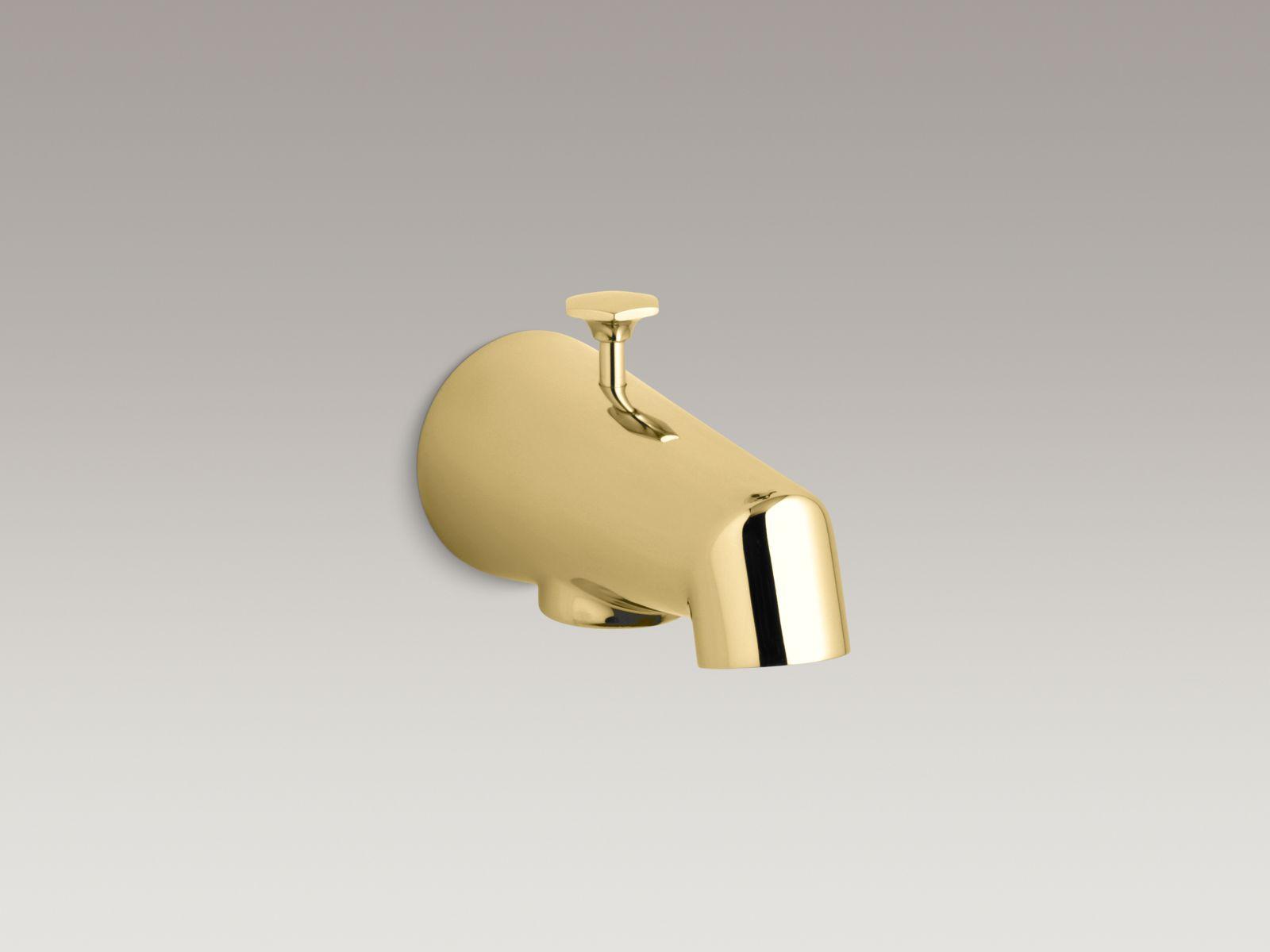 "Kohler K-6855-PB Standard Wall-mounted 5"" Diverter Bathtub Spout with Disc-shaped Knob Vibrant Polished Brass"