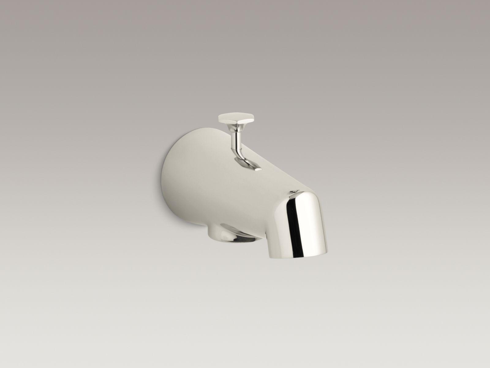 "Kohler K-6855-SN Standard Wall-mounted 5"" Diverter Bathtub Spout with Disc-shaped Knob Vibrant Polished Nickel"