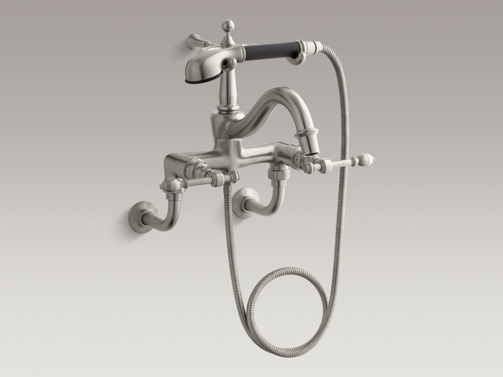 Kohler K-6905-4-BN IV Georges Brass Bathtub Filler with Handshower, Diverter Spout, and Lever Handles Vibrant Brushed Nickel