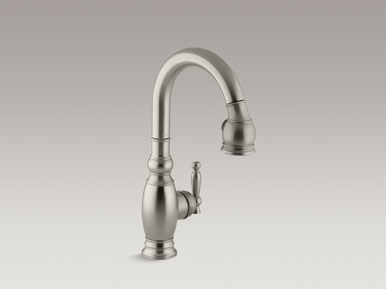 "Kohler K-691-BN Vinnata Single-hole Kitchen Sink Faucet with Pull-down 16"" Spout and Lever Handle Brushed Nickel"